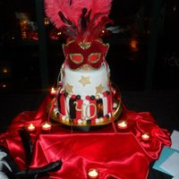 Masquerade  Masquerade theme party cake, 3-tier, fondant covered and decorated, real mask on top, ordered online. I picked up a couple yards of satin...