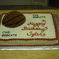 Basketball Birthday Cake  I did this one for my son's 10th birthday party at our local high school basketball game. I used half the sports ball pan for the...