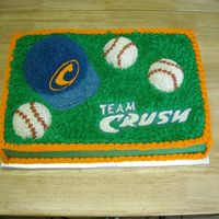 Baseball Cake  I made this one for my son's baseball team party. White cake, Buttercream icing. 1/2 sheet, sports ball pan for hat, mini sports ball...