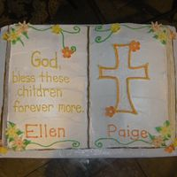 "Bible Baptism Cake Loved doing this cake. Have been wanting to do a ""book"" cake & sister-in-laws gave me free reign to do what I wanted for the..."