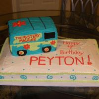 Mystery Machine Cake   All buttercream. Used stacked cake & carved out Mystery Machine. Oreos for wheels. It was a HIT!