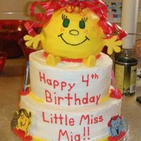 "Little Miss Cake Cake for my sweet niece's b-day. She LOVES Mr. Men, so we made her ""Little Miss Mia""... and she has red curly hair so this..."