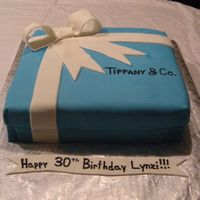 """tiffany's"" Box B-Day Cake  Hated doing this cake. Do not like doing square cake w/ fondant. Used MMF for all... birthday girl liked it though, so that's all that..."