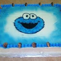 Cookie Monster I did this cake for my sonâs 1st birthday. My husband got me a air brush machine and this is my first cake I made with it. I&...