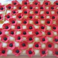 Stylized Poppies   Flowers made as christening cupcake toppers. All 80 of them!