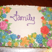 25Th Anniversary Cake I made this two layer vanilla cake with white chocoalte mousse for my parents 25th anniversary party. All buttercream.