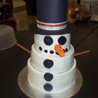 Snowman stacked cake - sugarshack's smooth icingnose is a rolled buttercream covered pretzel rod