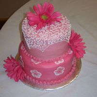 Pink Wedding Cake 1 of 2 wedding cakes - my first wedding. all buttercream. Love working with multi colors - main cake was all white
