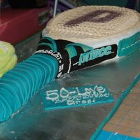 Tennis Birthday Cake 50Th Replica of Prince Tennis Racquet and balls