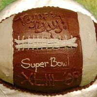 Football Cake Super Bowl 43 Chocolate devils food with chocolate buttercream filling. Decorated for the Superbowl party!