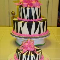 Zebra Pink Bow Cake I made this cake for my neice's first birthday. This is the first tiered cake and the first bow that I've ever made, it's...