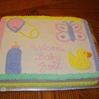 Baby Shower Sheet Cake Here is another baby shower sheet cake I made for my friend. I just freehand the pictures of the duck, baby bottle, butterfly, and clothes...
