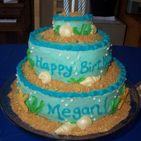 Ocean Birthday Cake Yellow cake w/ BC, crushed graham crackers for sand, white chocolate seashells, royal icing starfish