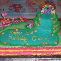 My Little Pony Birthday Cake   Yellow cake w/ BC. Put together several ideas seen here on CC.