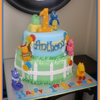 Backyardigans  10 & 7, chocolate w/vanilla buttercream. Gumpaste/fondant mix for characters. Present on top tier is RKT covered in fondant. Fun cake...