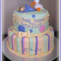 "Baby & Stork 10"" & 7' WASC w/chocolate buttercream. Gumpaste stork and baby using mold, which i love:) Thanks to this site for inspiration..."