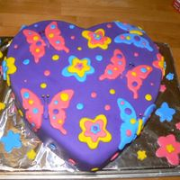 Purple Heart With Butterflies   It was my birthday so I decided to make myself a fondant cake.....my first one!