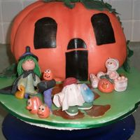 1300 Night Street - 2008 Halloween Cake Contest Fondant covered red velvet cake-pumpkinGum paste trick or treaters, mailbox and pumkins