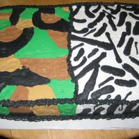 Half Camo Half Zebra This is a graduation cake for 4 seniors, 3 boys, 1 girl. So she wanted Zebra, they wanted Camo and this is what I came up with, its all...