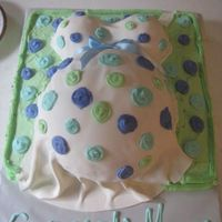 Pregnant Belly buttercream square bottom cake. I used the soccer ball pan for the belly and two mini ball pans for the boobs. Covered it in fondant and...