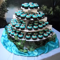 Cupcakes Stand For Wedding Tiffany Blue, Ivory And Brown