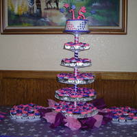 Cupcakes And 8 Inch Round Pink And Purple