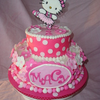 Hello Kitty  One of my favorite cakes ever! The kitty is color flow.I did this cake a few months ago and recall for sure, but I'm pretty certain...