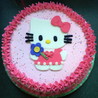 Hello Kitty Cake   Vanilla cake with vanilla buttercream filling and frosting with fondant accents