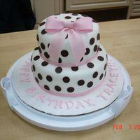 Polka Dots And Bow Birthday Cake I did this cake for a friend's birthday. WASC cake covered in fondant, with dark chocolate polka dots and a pink gumpaste bow. This...
