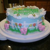 Three Pigs Birthday Cake I made this cake for someone who likes piggies.