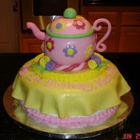 Teapot Birthday Cake I amde this teapot for a neighbor girl's birthday. I was very happy with how it turned out. I drew inspiration from a teapot cake I...