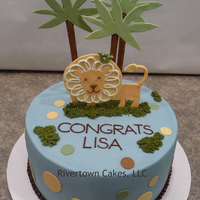 "King Of The Jungle   8"" Baby shower cake - King of the Jungle Theme - Chocolate cake with vanilla buttercream and fondant accents"