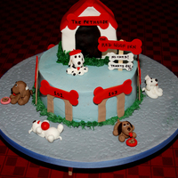 Red Woof Inn. Seven Dogs For 7 Year Old Somebody else's idea, a hotel for dogs. I can't find the original cake or the person who made it. For my niece, who just turned 7...