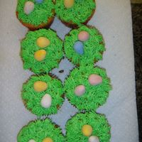 Easter Basket Cupcakes With Easter Eggs   Yellow cake with BC icing grass and robin eggs...