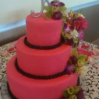 Aprils Wedding Cake the bride loved hot pink and black, all fondant