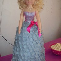 "3Rd Birthday Cake This is a 32"" tall doll cake. There is 16 inches of cake from bottom toward waist. The last 3 inches are rice crispy treats so we..."