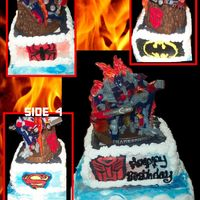 Superhero Cake  Cake for a 6 year old having a Superhero party- He does love Transformers, hence the topper (a $30 toy found at Walmart on Clearance for $5...
