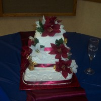 Very First Wedding Cake  All vanilla- with burgundy and navy swirls inside (per the groom's request... he was shot down by mother of bride thank goodness- he...