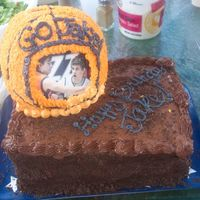 Basketball Ice Cream Cake  This is a chocolate fudge cake with Mint Chip Ice Cream inside (requested by my little brother for his 18th BDay). The icing is a whipped...