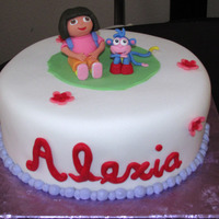 Dora And Boots   Gumpaste/fondant accents/figurines.Fondant covered cake. TYFL:)