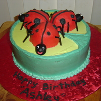 Lady Bugs For my godaughter, her mom drew the picture of her 3rd birthday cake and here is the cake.
