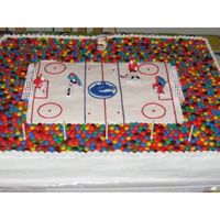 Hockey Cake I made this cake for my son's birthday. It is four 13X9's for the hockey rink, and the spectators stand was moulded out of 18...