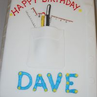 Nerd Shirt Pocket Cake sheet cake covered in fondant with fondant accents!
