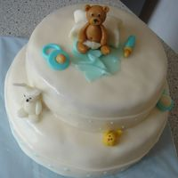 Little Teddy Bear My first baby shower cake :-). Home-made fondant and figures. TFL