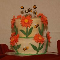 Bee And Flowers Cake  Lemon poppy seed cake filled with cherry marmelade. All covered in fondant. Bees and flowers are gumpaste and the border is RI. It was my...