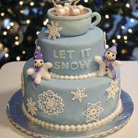 Let It Snow! Chocolate cake with mint chocolate ganache covered in fondant with royal icing snowflakes.