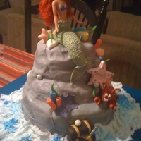Little Mermaid And Shark made for twins a girl and a boy. Everything is edible and handmade except the doll body. I enjoyed making this cake it was big however very...