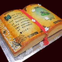 "Once Upon A Time Book cake done for a friend throwing a shower with a ""Bedtime Stories"" theme. Sour Cream Almond Cake with Marion Berry..."
