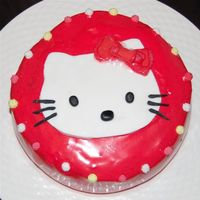 Red Kitty Cake   A cute fast and easy cake for a friends daughter. Its trofo and Fondant decoration.