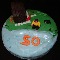 50Th Birthday Fighing Cake... For my friends mom, she loves the garden, animals, flowers and fishing :-)